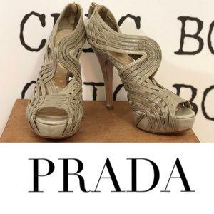 PRADA Grey Peep Toe Platform Heels